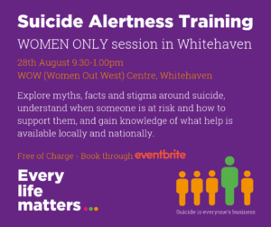 FREE Suicide Alertness Training - Whitehaven - Women Only @ WOW (Women Out West) Centre